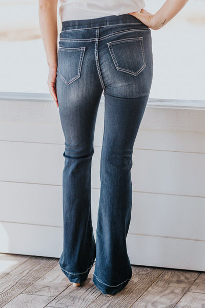 Candace Cello Dark Wash High Rise Flare Jegging Jeans - Filly Flair