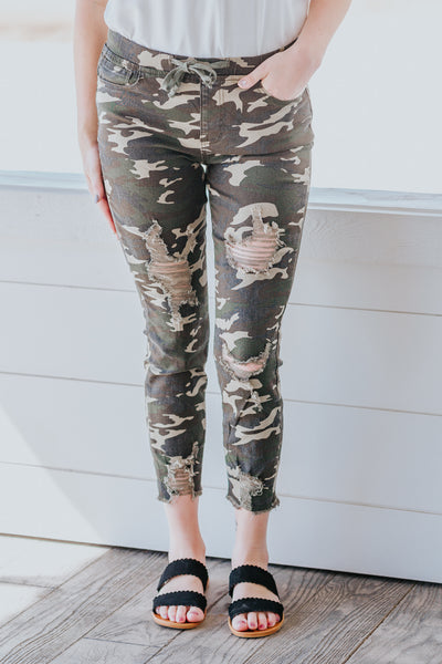 Best Version Of Yourself High Rise Ankle Jogger in Camo - Filly Flair