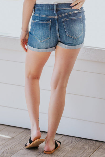 Kristopher KanCan High Rise Dark Wash Jean Shorts - Filly Flair
