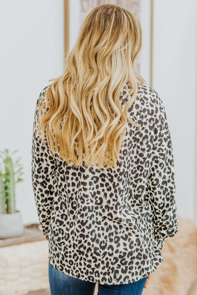 Always Move Forward Leopard Print Long Sleeve Top Cream - Filly Flair