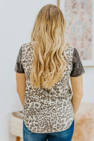 On My Own Journey Animal Printed Sequin Short Sleeve Top in Brown - Filly Flair