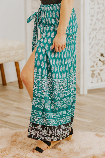 Love Me At My Worst Printed Wide Leg Pant in Teal - Filly Flair