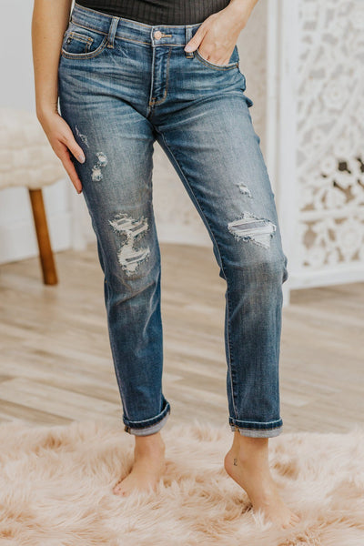 Jaguar Judy Blue Cuffed Distressed Medium Wash Boyfriend Jeans - Filly Flair