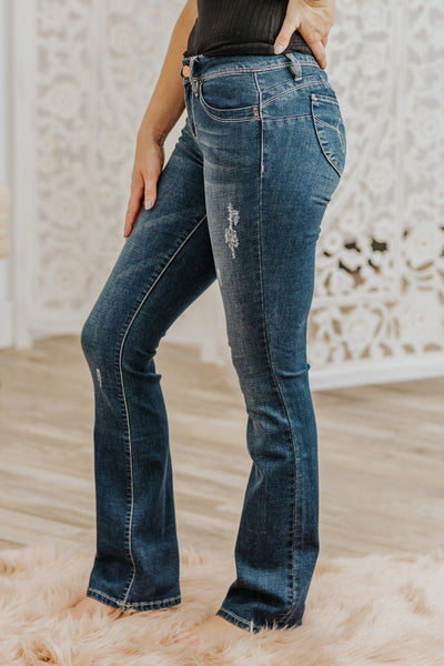 Yohanna Mid Rise Dark Wash Boot Cut Jeans - Filly Flair