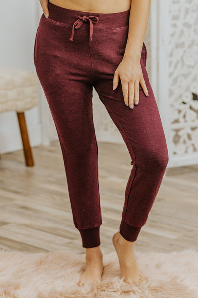 Curl Up Ribbed Elastic Tie Waist Joggers in Burgundy - Filly Flair