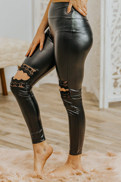 Gotta Try Lace Detail Knee's Leggings in Black - Filly Flair