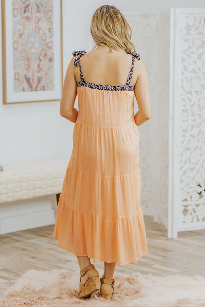 That's My Downfall Black Printed Tie Sleeve Tiered Mid Dress in Peach - Filly Flair