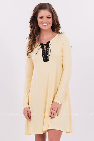 Yellow Lace Up Dress