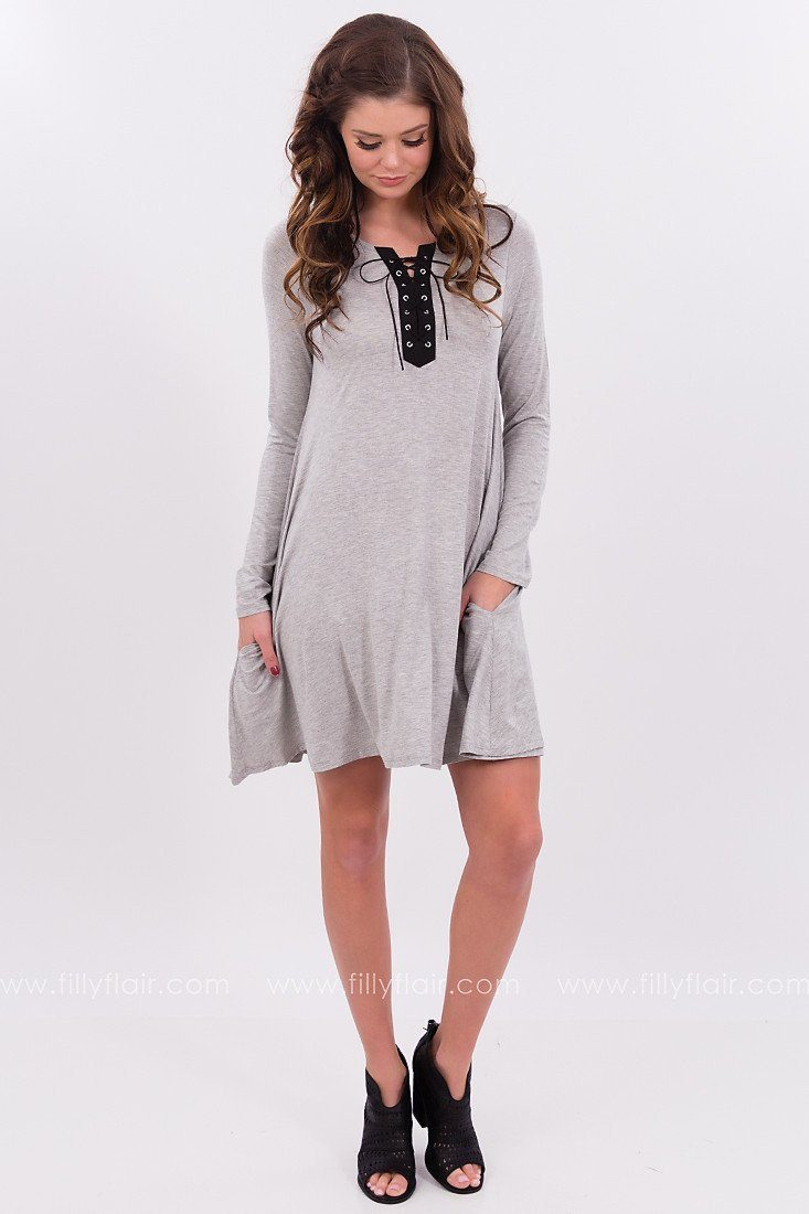 Lace Up Dress in Grey