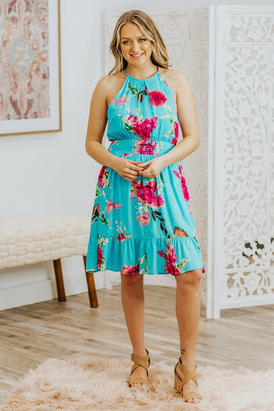 Bring It To The Floor Floral Tropical Smocked Waist Dress in Turquoise - Filly Flair