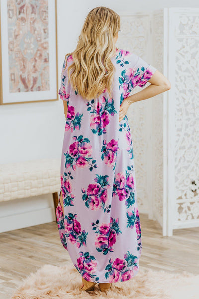 Lost In My Dreams Floral Short Sleeve Maxi Dress in Lavender - Filly Flair