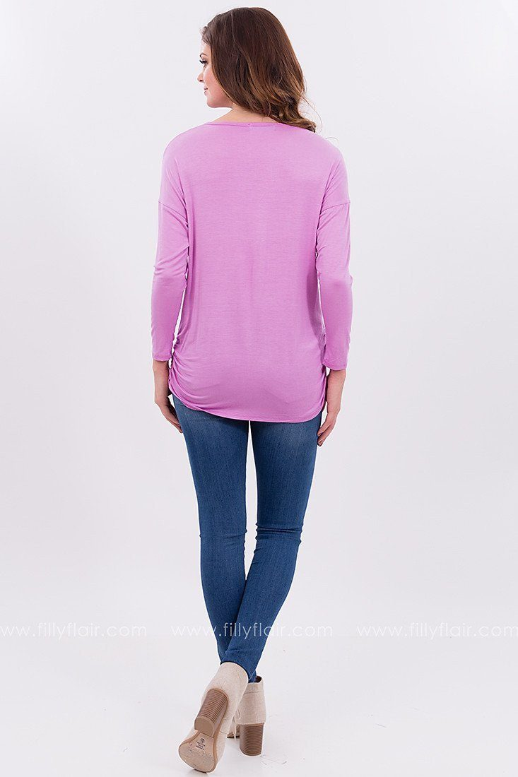 Long Sleeve Strappy Top in Purple