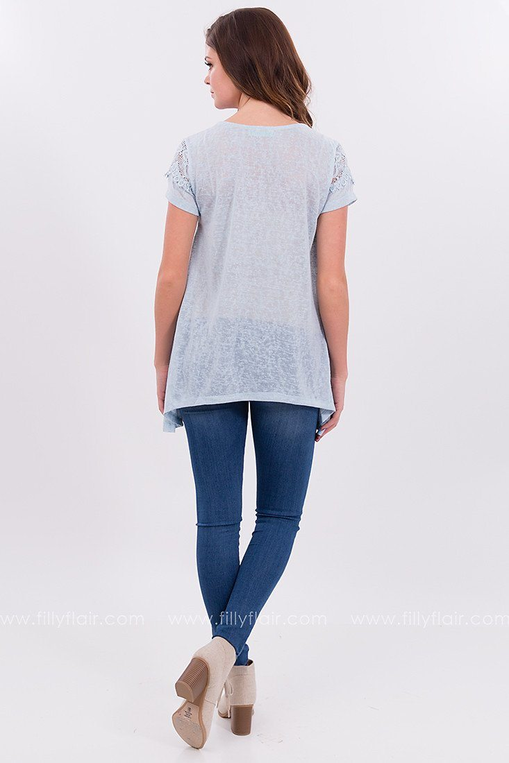 Short Sleeve Lace Top in Blue