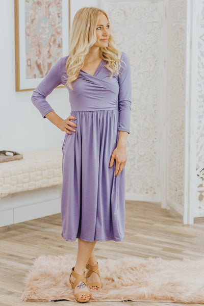 Storm's Don't Last Forever 3/4 Sleeve Dress in Iris - Filly Flair