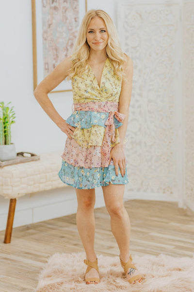 Let Go And Be Floral Color Block Ruffle Sleeveless Dress in Multi Faded Olive - Filly Flair