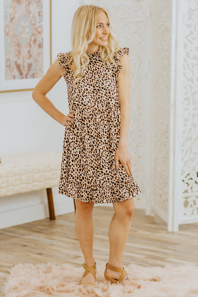 She's The Boss Leopard Printed Ruffle Sleeveless Short Dress - Filly Flair