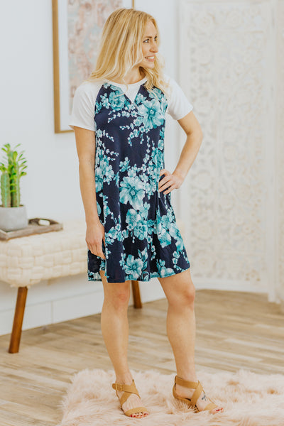Believe In the Possibilities Short Sleeve Floral Short Dress in Navy - Filly Flair