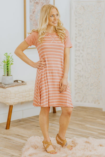 Only For Tomorrow Striped Short Sleeve Short Dress in Mauve - Filly Flair