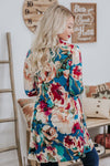 Living Life To The Fullest Floral 3/4 Sleeve Mini Dress in Teal - Filly Flair