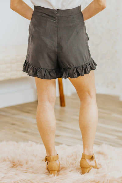 Do What You Wanna Do Ruffle Detail Skort in Black - Filly Flair