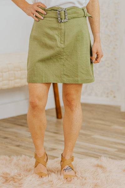 The True Words Buckle Tie Waist Scalloped Waist Mini Skirt in Olive - Filly Flair