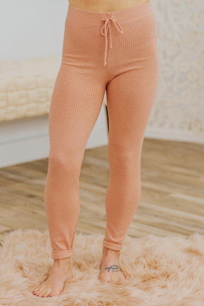 Staying Home Tonight Elastic Waist w/ Tie Ribbed Pant in Dusty Rose - Filly Flair