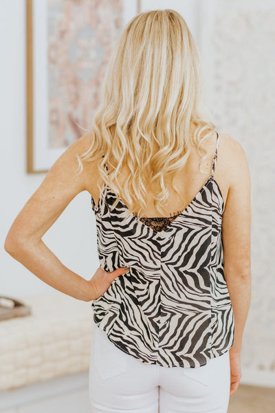 Satisfy My Desires Zebra Lace Sleeveless Tank Top in Black & Ivory - Filly Flair
