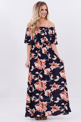 Aloha Floral Print Off The Shoulder Maxi Dress in Navy