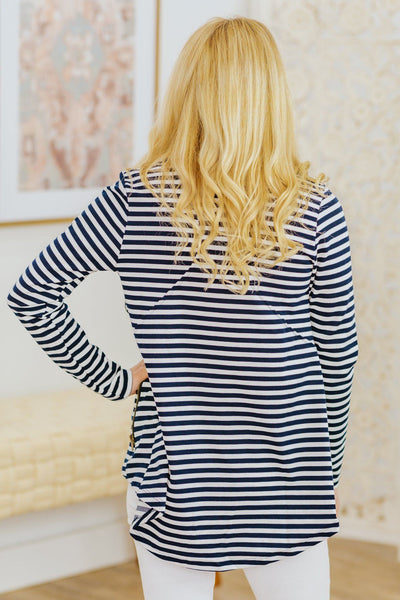 Saturday Goals Striped Side Zip Up Jacket in Navy - Filly Flair