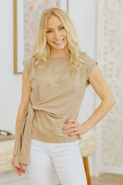 Take Me Away Front Tie Sleeveless Top in Beige - Filly Flair