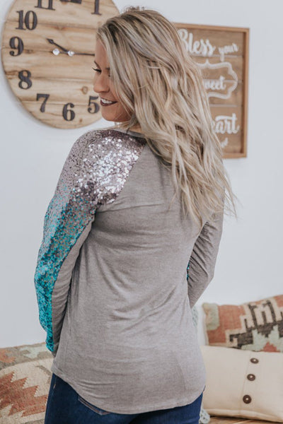 Time To Shine Ombre Teal Sequin Long Sleeve in Heather Grey - Filly Flair