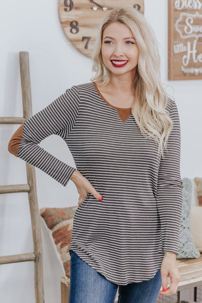 Feeling Alright Striped Long Sleeve Top in Charcoal - Filly Flair
