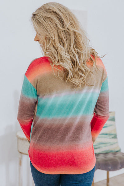 I Am What I Choose Ombre Stripes Mock Neck Long Sleeve Top in Multi-Color - Filly Flair