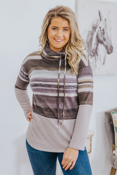 Anything's Possible Color Block Ombre Stripes Mock Neck Long Sleeve Top in Grey - Filly Flair