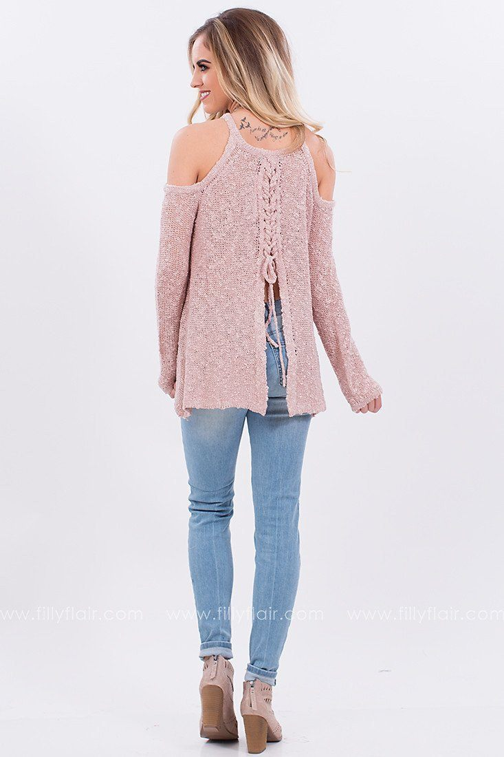 Snowy Day Cold Shoulder Sweater with Lace Up Back in Mauve