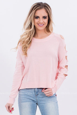 First Impressions Cut Out Sweater in Pink