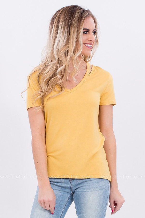 Not Your Average Cut Out Top in Mustard