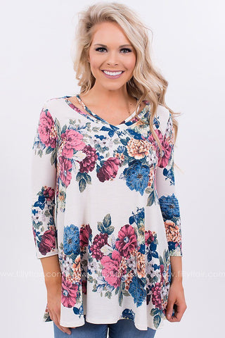 Floral Print Cut Out Top