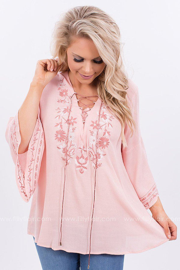 Only in Dreams Embroidered Lace Up Top in Peach