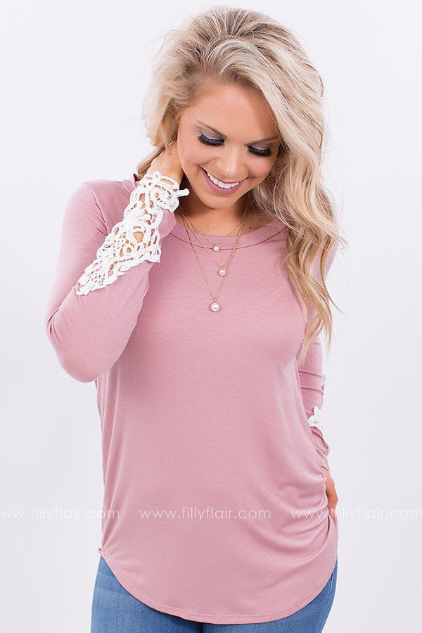 Good Company Crochet Top in Mauve
