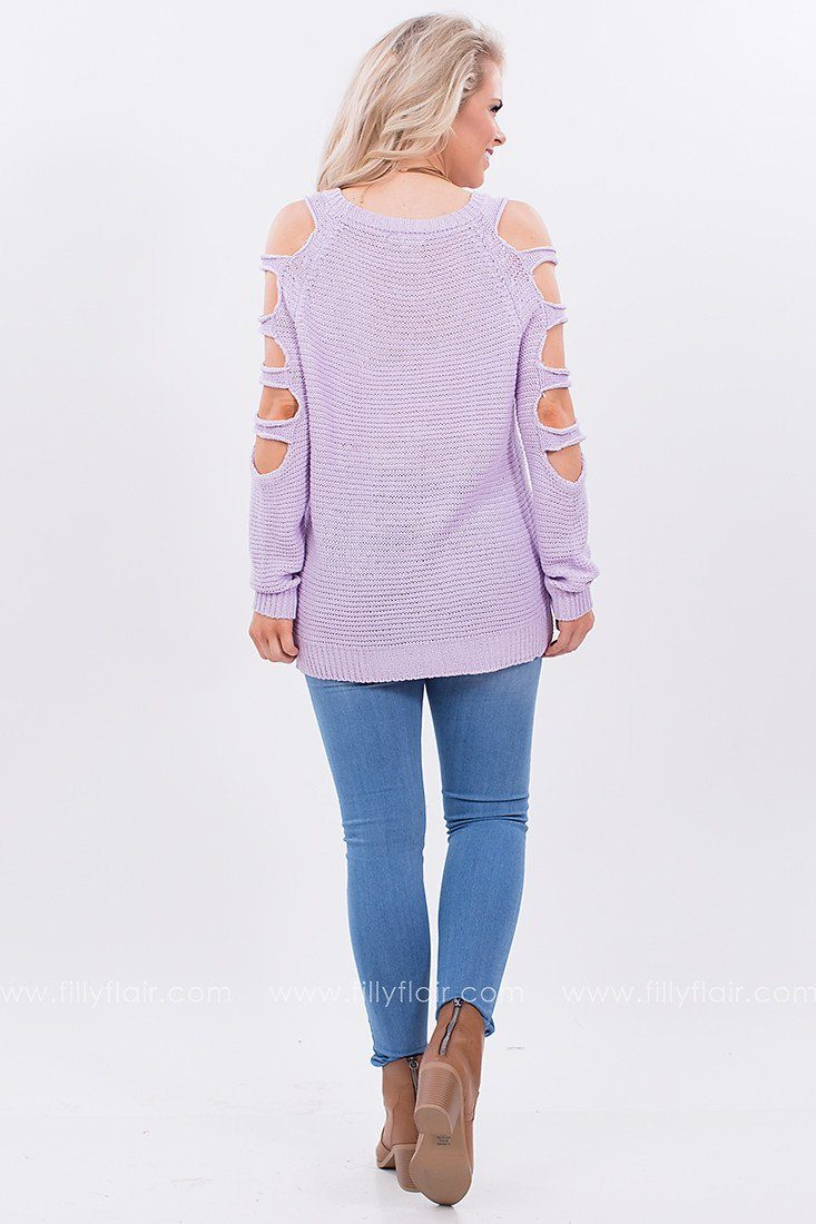 Cold Shoulder Sweater in Purple