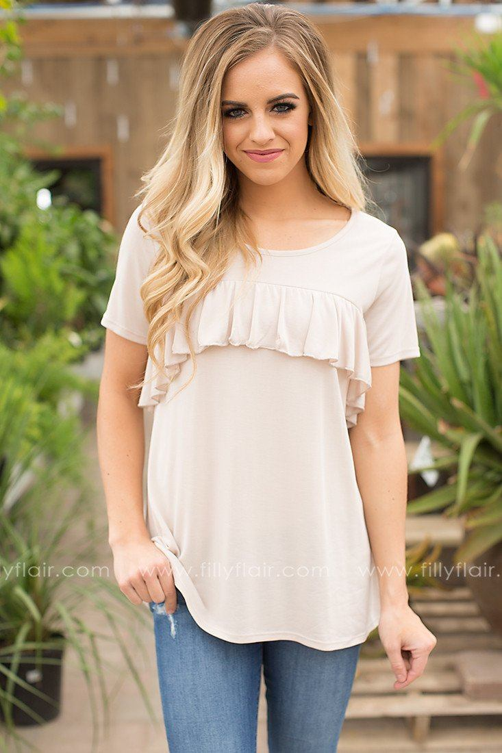 Garden Gathering Ruffle Top in Taupe
