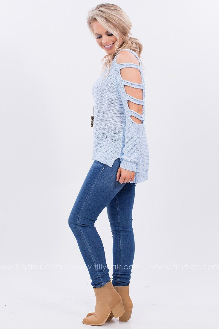 Perfect Oasis Cut Out Sweater in Sky Blue