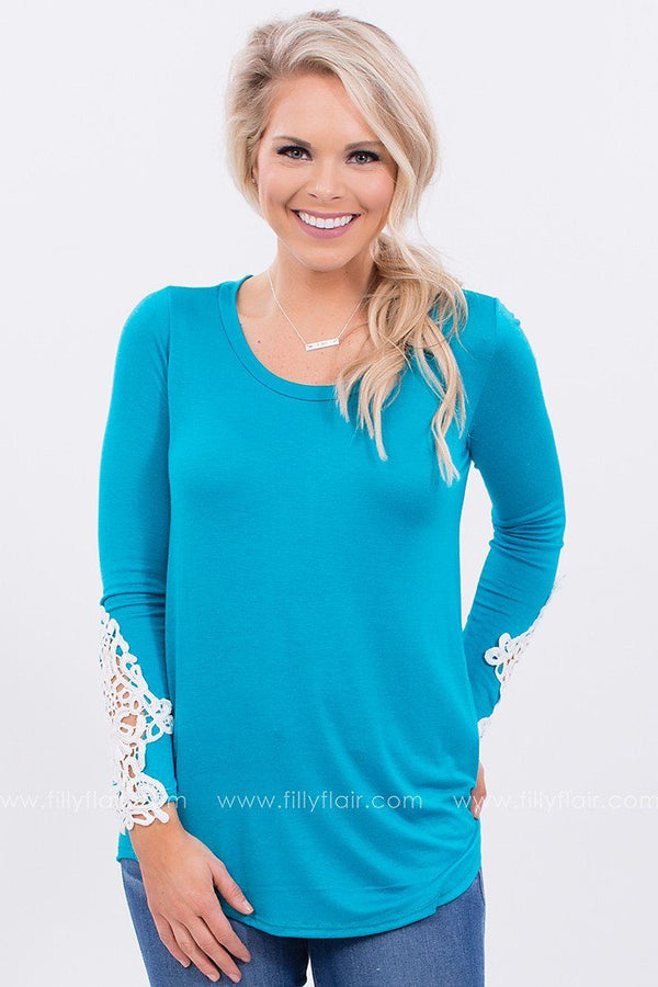 Good Company Crochet Top in Blue