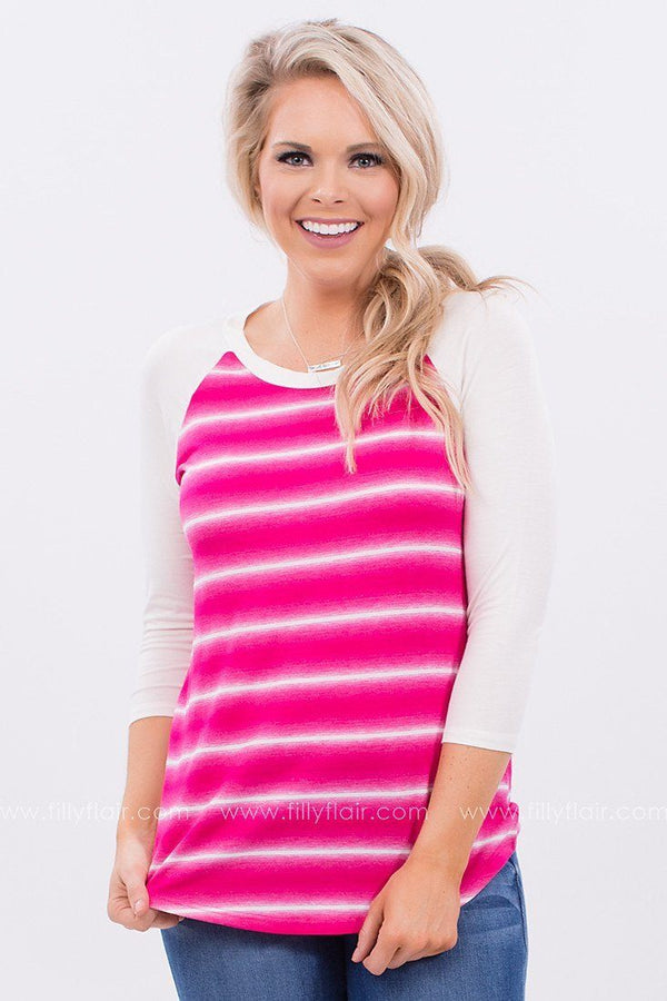 Springtime Fun Striped Top in Fuchsia
