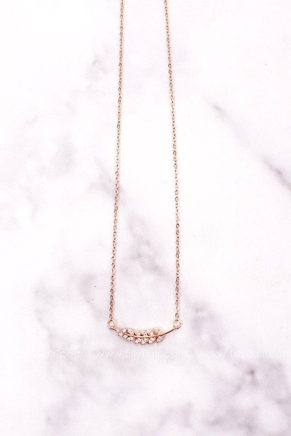 Rosegold Rhinestone Feather Necklace