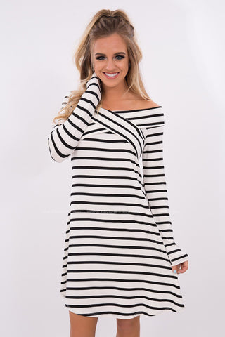 All My Ways Striped off the Shoulder Dress