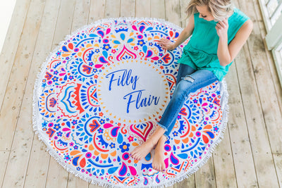 'Filly Flair' Round Beach Towel In White - Filly Flair