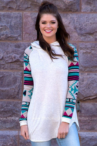 Down to Earth Aztec Raglan Long Sleeve Hoodie