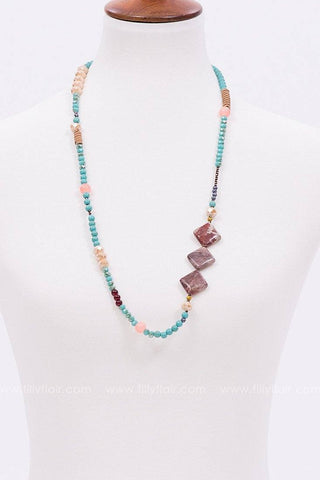 Inner Reflection Beaded Necklace in Turquoise